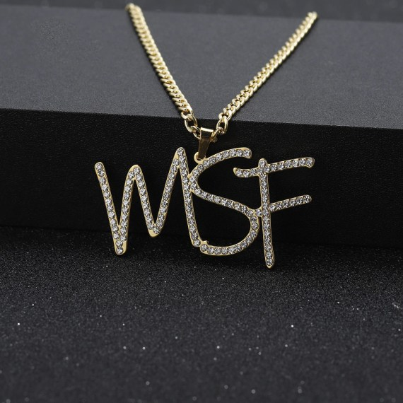 hip hop custom crystal initials diamond iced out name necklace personalized