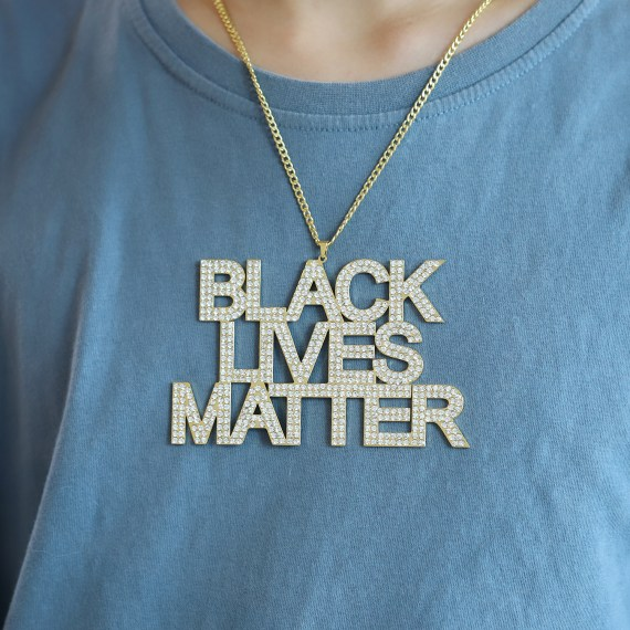 Black lives matter official crystal sparkling crystal name chain for men and women movement protests iced out black american