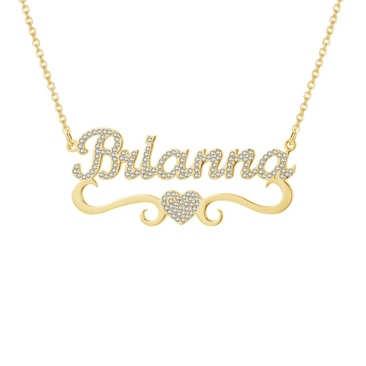 Iced Out Personalized Custom Name Necklace For Her in Gold Color