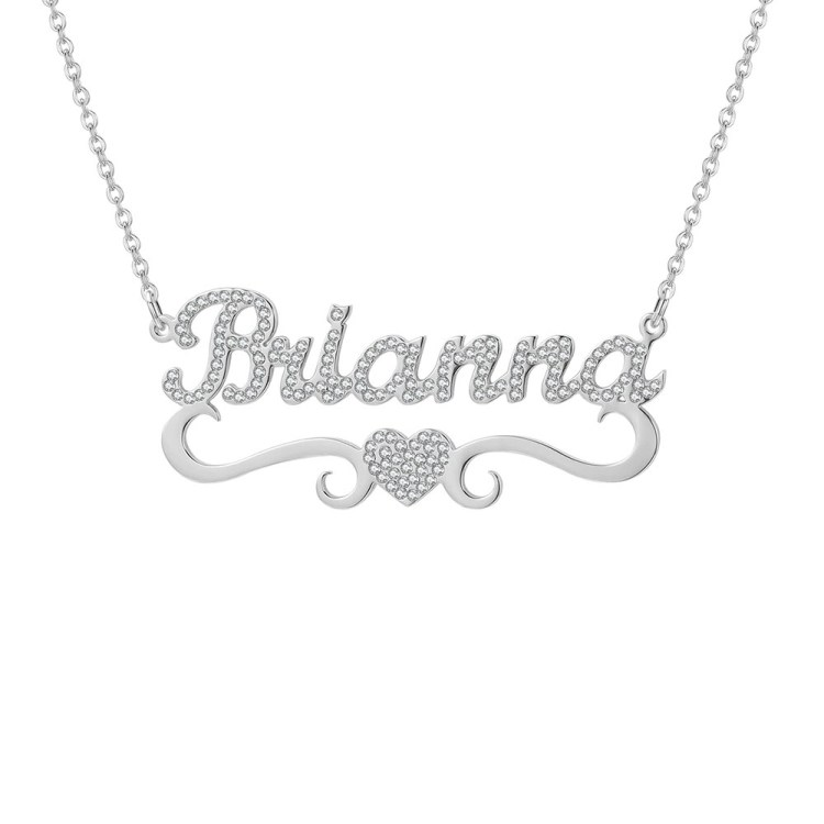 Silver Color Personalized Women Nameplate for Custom Personalized Jewelry Charm Chain Lovers