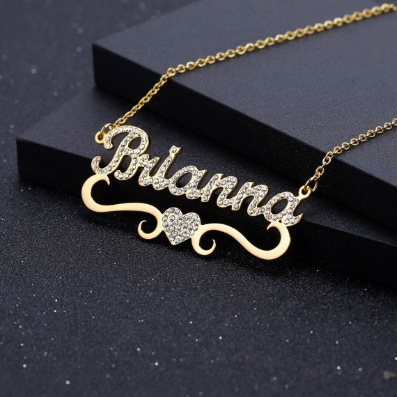 Sparkling Name Necklace with Bottom Heart Symbol For Women Beceff Iced Out Personalized