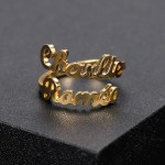 personalized couple name gold color adjustable name ring for women valentine anniversary