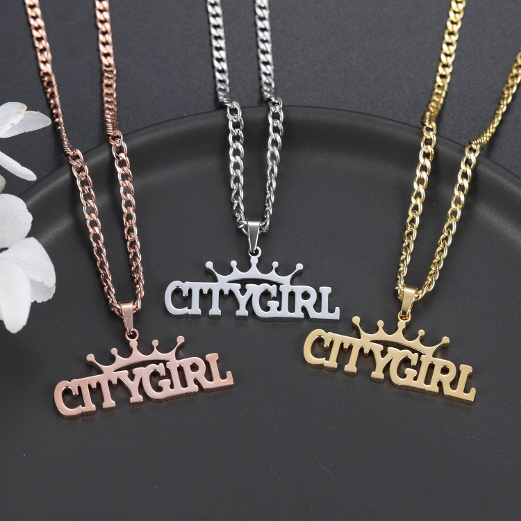 crown on top name necklace