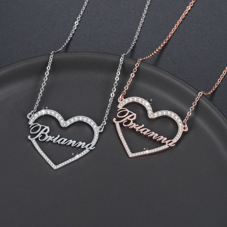 shinning iced out crystal heart name necklace