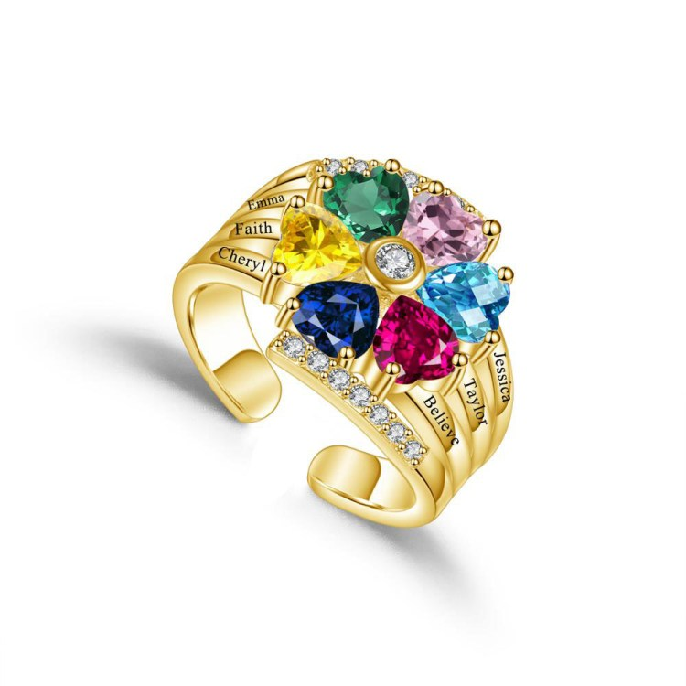 6 crystal premium birthstone ring for women for christmas birthday family gift with all names