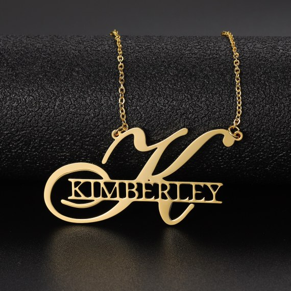 Big first letters nameplate for women personalized name necklace pendant