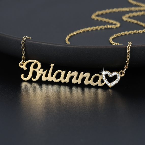 Customized gold heart necklace jewelry pendant