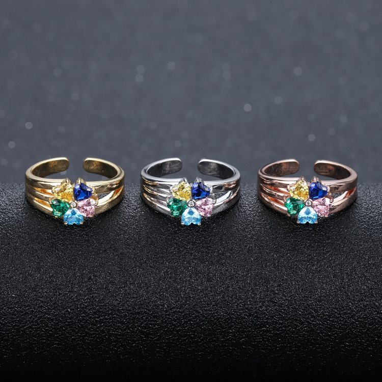 Family ring custom five 5 heart shape symbol birthstone ring for women mother wife daughter with all family members name christmas family gifts