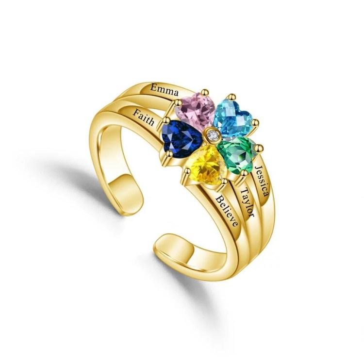 Family ring custom heart birthstone rings for women custom letter engraved 5 name ring printed names gold color christmas birthstone ring for mother grandma daughter sister