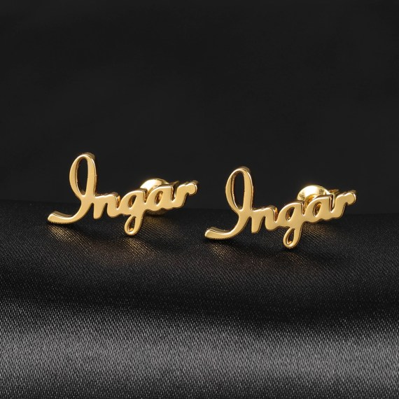 Gold custom name earring pair women initial cursive stud earring gift couple love