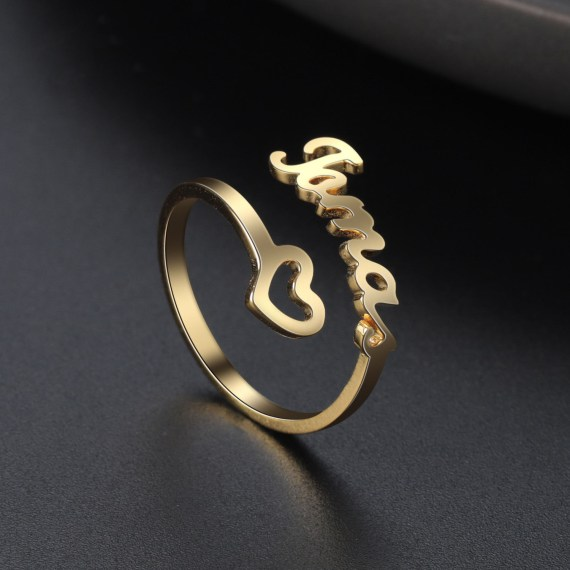 Gold personalized empty heart name ring cutomized unique ring for girlfriend wife mom gifts statement jewelry adjustable