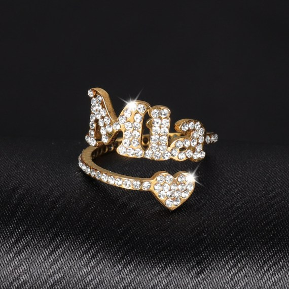 Heart personalized iced out name ring engagement wedding handmade zirconia micro pave pings simple luxury ring for women