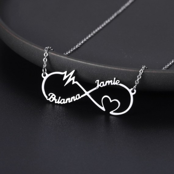 Infinity shape custom letters personalized heart pulse name necklace couple pendant for women men love