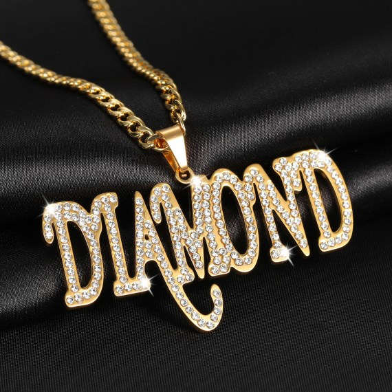 One layer single name necklace hip hop style iced out personalized pendant