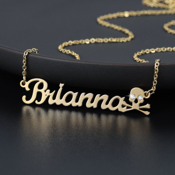 Personalized custom skull name necklace gold iced out blin pendants for woman glamour