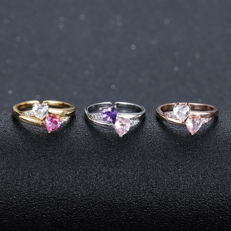 Personalized engraved name copper rings for women customized couple heart birthstones wedding ring