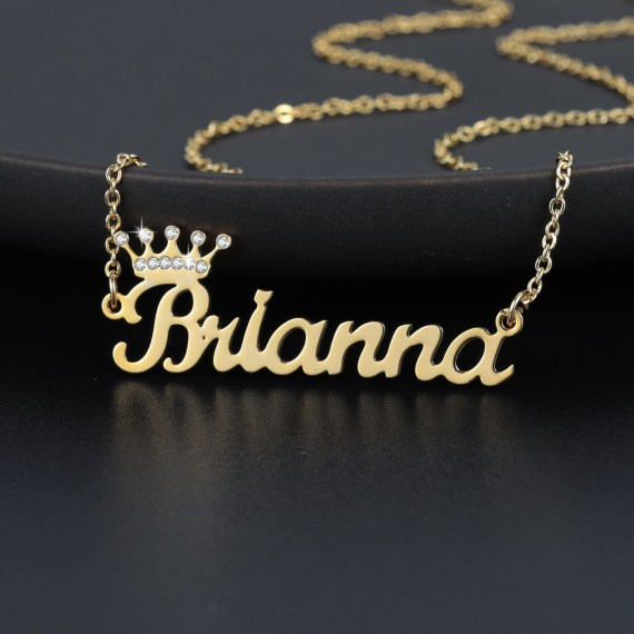 Sparkling crown couronne nameplate necklace