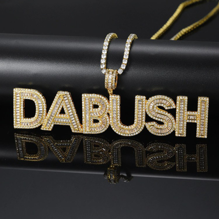 Superior Iced Out Crystal Fully Iced Usa Made High Quality Tennis Rope Cuban Chain Rap Hip Hop Name Necklace For Men Women