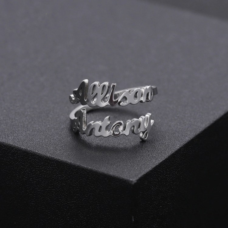 personalized custom two name silver name ring for valentine wedding anniversary