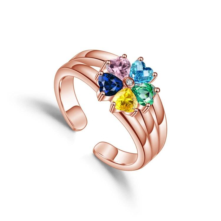 rose gold family ring custom heart birthstone rings for women custom letters five stones crystal best family gift for christmas
