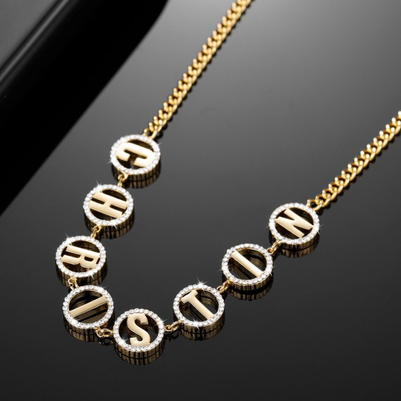 Iced out customized women gift sparkling round pendant circle letter round crystal name necklace for women gold stainless steel