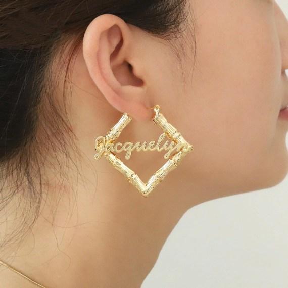 Bamboo rhombus earrings customized name jewelry best gift ideas