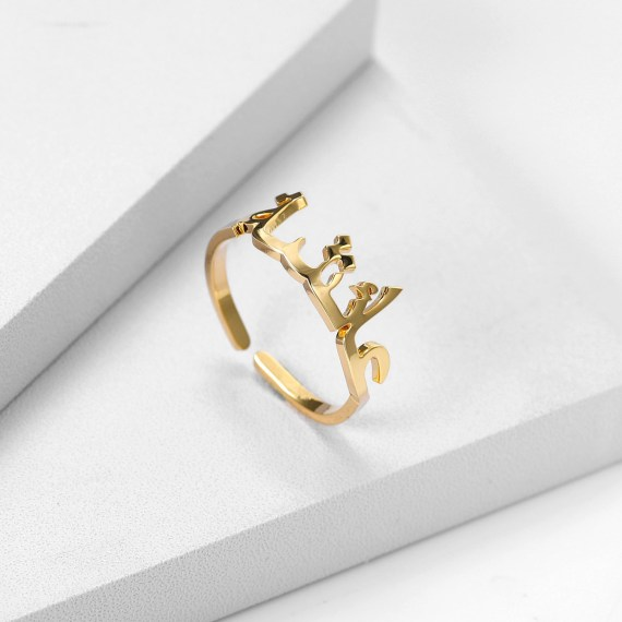 Custom single name ring personalized gold stainless steel jewerly adjustable bague wedding rings