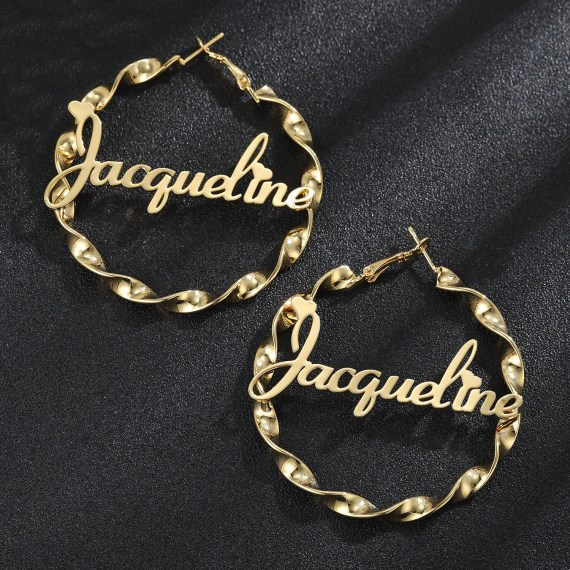 Personalized hoop earrings customize name earrings
