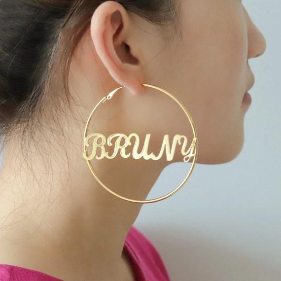 Personalized name hoop earrings custom name plate earrings fashion stainless steel jewelry name hoop earrings for women