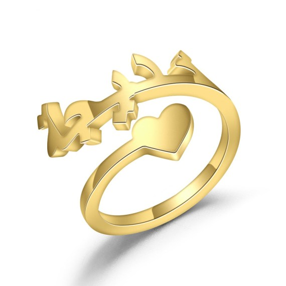 Personalized name rings gold color custom arabic ring heart sprial for women high quality stainless steel