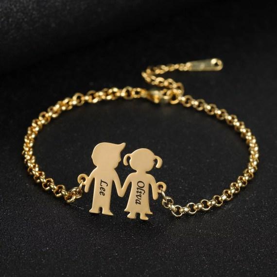Personalized new bron baby engraved name date boy girl bracelet pendant bracelet for mom