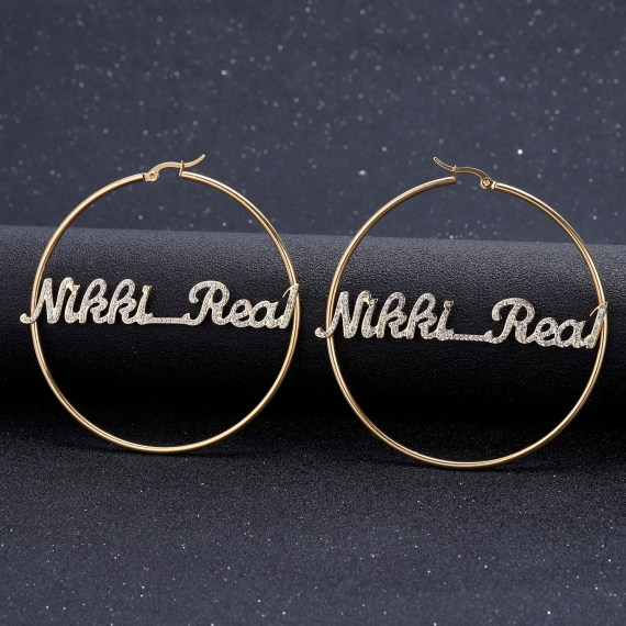 Personalized sparkling iced out name earrings for female hiphop brincos stainless steel big