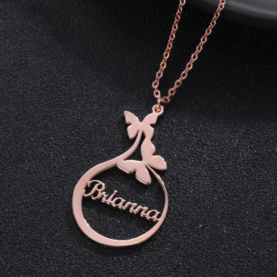 Two Butterfly name necklace round name plate women gift Rose gold sterling silver