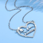 Personalized Jewelry Gift To Family Members High Quality Custom Bling Silver Color Plated Name Necklace Birds Name Necklace Heart Crystal Inlaid Necklace For Women