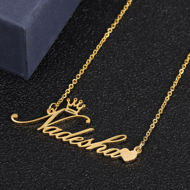 crown heart name necklace for personalized custom name necklace lady gift ideas chain