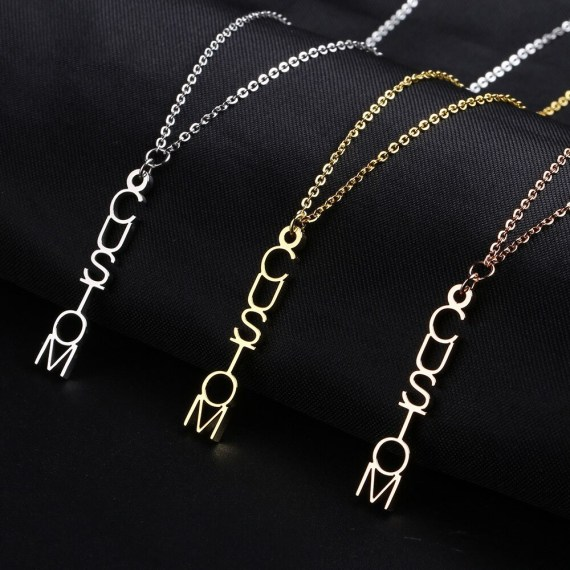 custom letter vertical name necklace in gold rose gold silver colors