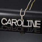 customized bling personalized nameplate crystal letters name necklace