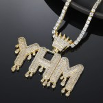diamond crown symbol bigger bail tennis chain name necklace for men women
