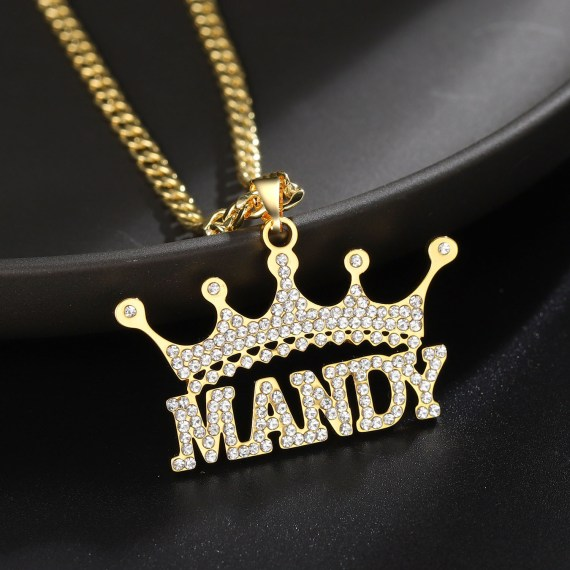 iced out crystal crown hip hop jewelry name necklace beceff queen bespoke jewelry lovers