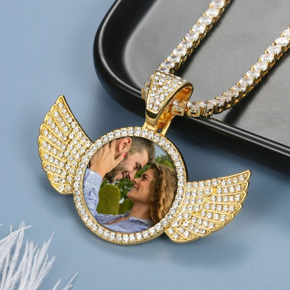 memories iced out shine bling angel wings loved ones photograph image custom bespoke jewelry necklace