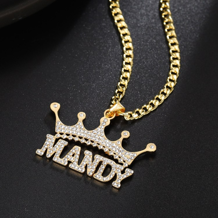 personalized crystal paved CZ stainless steel gold plated name necklace for men and women in hip hop fashion jewelry collection
