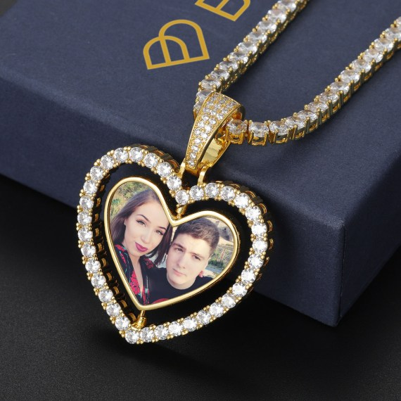 sparkling levitating rotatable spinning heart double side 2 in 1 photo necklace for loved ones beceff