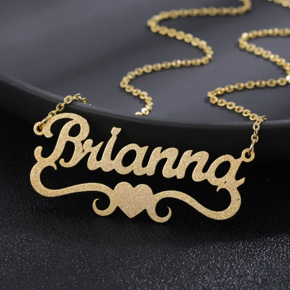 surround heart frosted iced out custom brianna sand blast nameplate personalized bespoke jewelry name necklace