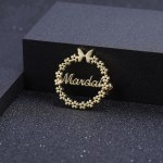 customized personalized name brooch for women with floral border round butterfly design