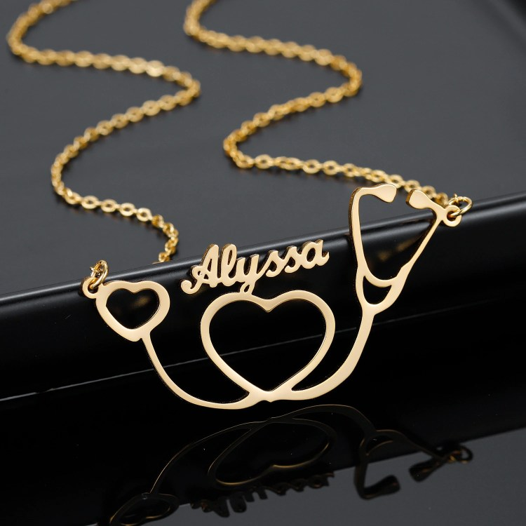 High Quality Stainless Jewelry For Women Custom Name Necklace With Doctor Equipment Jewelry Gift To Medical Student Hospital Staff Member Nurse Attendant On Her Special Day
