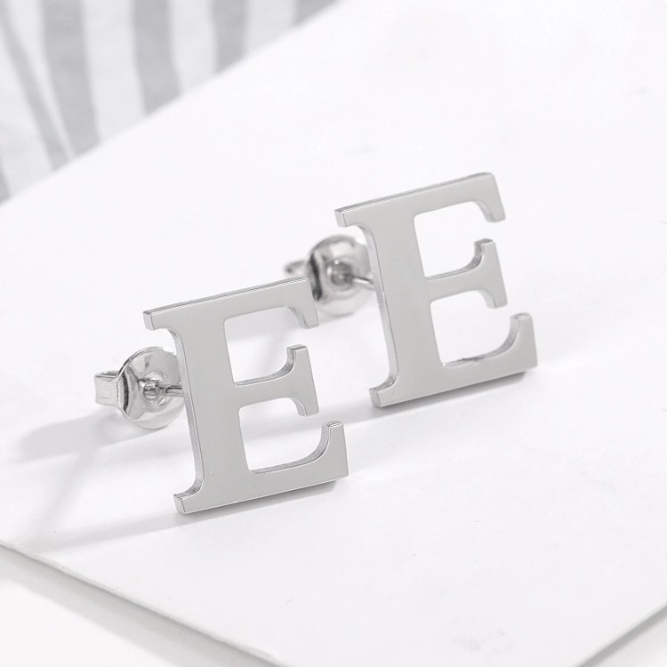 Silver Color Plated Custom Made Personalized Earrings For Ladies Best Quality Beceff Jewelry For Long Term Use Capital English Letter Earring With High Quality Finish