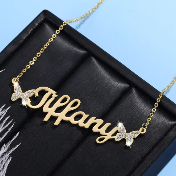 bespoke personalized custom name necklace with butterflies
