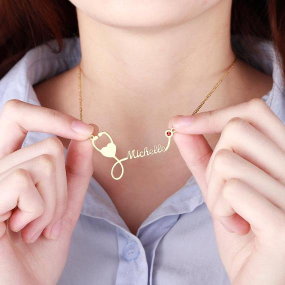 Medical Students Professionals Birthday Graduation Gift Ideas with Stethoscope Custom Name Pendant