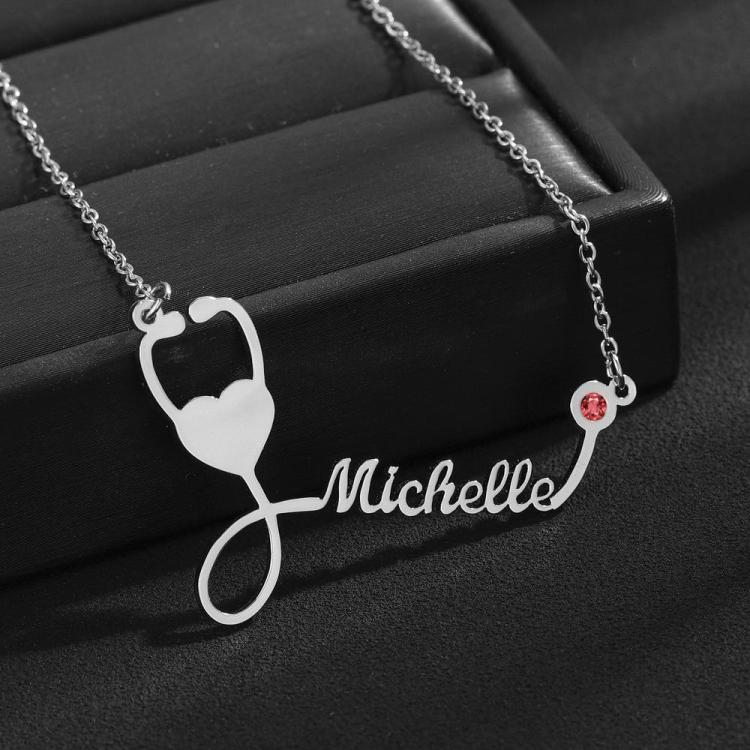 Silver Color Custom Stethoscope Name Necklace for Nurses Doctors Medical Students Graduation Birthday Healthcare Services Professionals