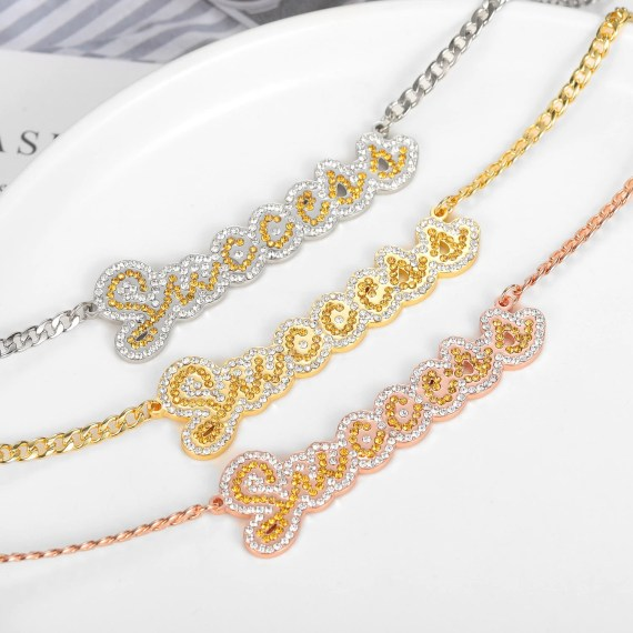 custom name necklace with iced out crystals bling jewelry name necklace for women in gold rose gold silver color cuban chain